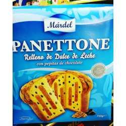 PANETTONE RELLENO DULCE DE LECHE CON PEPITAS DE CHOCOLATE X 750 GRS MARDEL